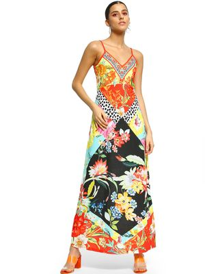 101 IDEES Mixed Tropical Print Maxi Dress