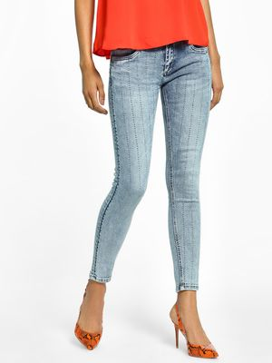 Toxik3 Light Wash Diamante Stripe Skinny Jeans