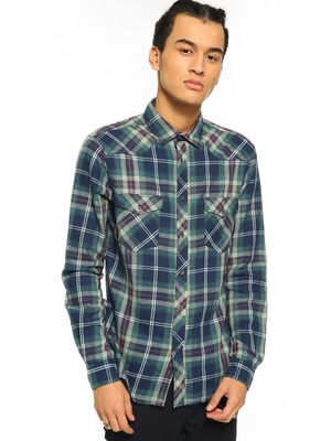 Celio Woven Multi-Check Long Sleeve Shirt