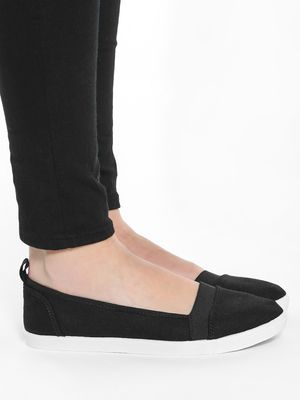 KOOVS Elasticated Band Canvas Ballerinas