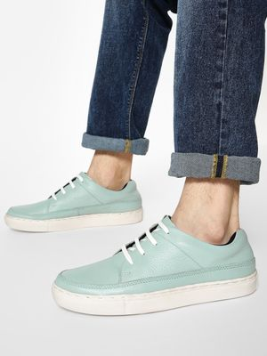 YOHO Basic Lace-Up Leather Sneakers