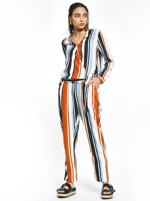 The Gud Look Vertical Stripe Paperbag Trousers