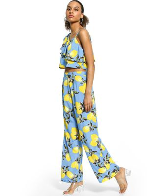 The Gud Look Tropical Lemon Print Trousers