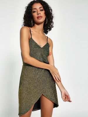KOOVS V-Neck Shimmer Shift Dress