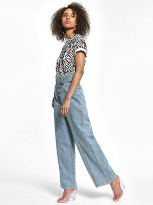 K Denim KOOVS Paperbag Light Wash Flared Jeans