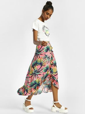 KOOVS Palm Print Wrap Midi Skirt
