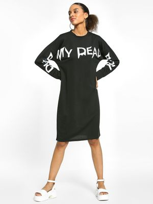 EmmaCloth Text Print Oversized T-Shirt Dress