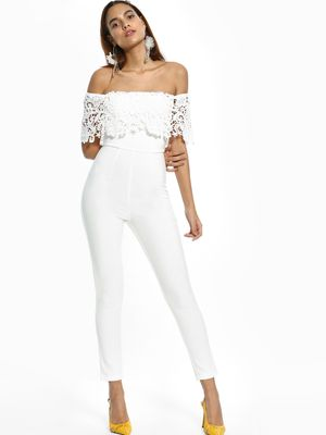 Rare London Crochet Lace Off-Shoulder Jumpsuit