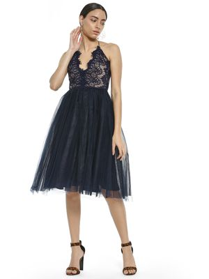 Rare London Halter Neck Lace Mesh Skater Dress