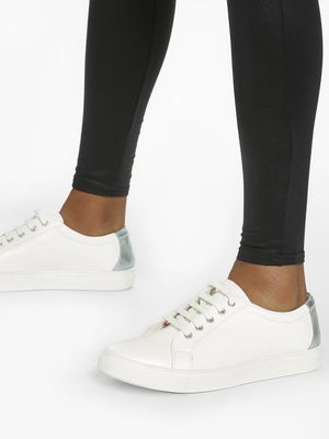 ADORLY Metallic Tab Lace-Up Sneakers
