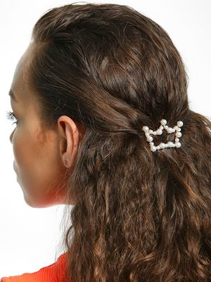 Blueberry Pearl Embellished Crown Hair Clip