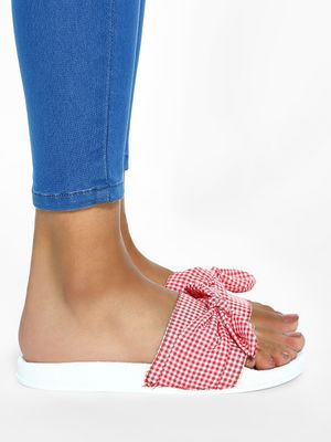 My Foot Couture Gingham Check Bow Slides