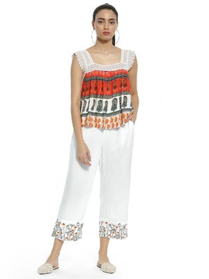 Kisscoast Floral Embroidered Hem Cropped Trousers