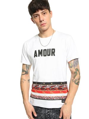 Fighting Fame Animal Baroque Stripe Text T-Shirt