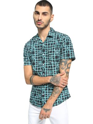 Spring Break Abstract Print Cuban Collar Shirt