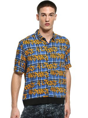KOOVS Graffiti Multi Check Print Shirt