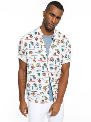KOOVS Cartoon Sticker Print Shirt