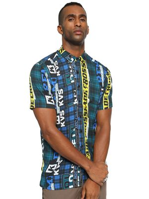 KOOVS Multi-Check Text Print Shirt