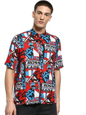 KOOVS Spliced Text Print Shirt