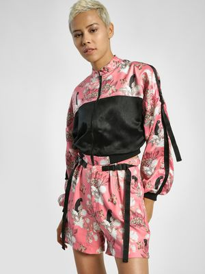 Shivan & Narresh X KOOVS Magnolia Flower Print Panel Cropped Jacket