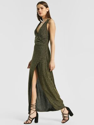Shivan & Narresh X KOOVS Thigh High Slit Maxi Dress
