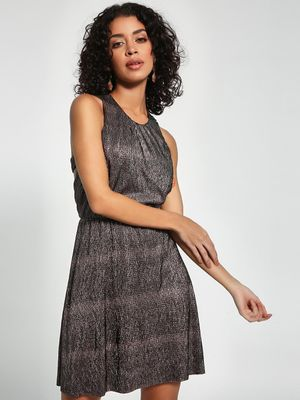 KOOVS Crushed Metallic Skater Dress