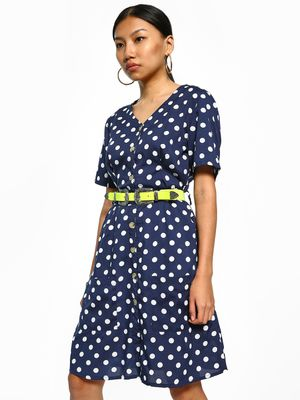 Sbuys Polka Dot Tie-Waist Shift Dress