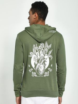 Blue Saint Heart Organ Print Back Hoodie