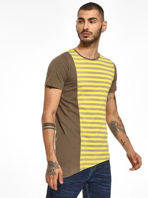 Kultprit Cut & Sew Panel Stripe T-Shirt