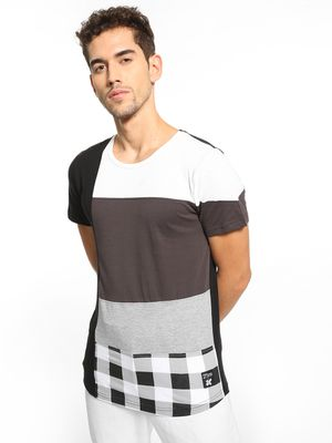 Kultprit Check Panel Colour Block T-Shirt