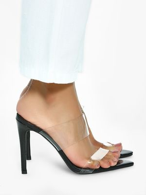 Intoto Snakeskin Clear Strap Heeled Sandals