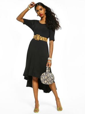 Femella High-Low Flared Hem Midi Dress