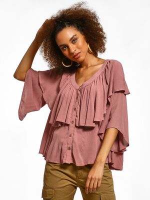Femella Ruffle Tier Flared Top