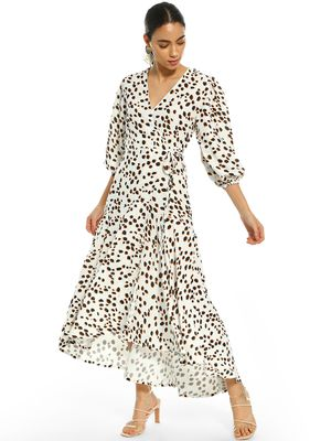KOOVS Animal Spot Print Wrap Dress
