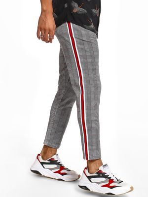 Garcon Houndstooth Side Tape Cropped Trousers