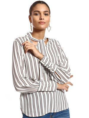 PostFold Vertical Stripe Tie Neck Blouse