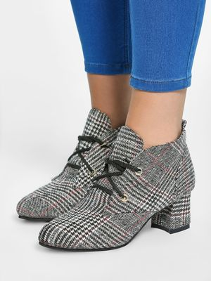EmmaCloth Glen Check Heeled Ankle Boots