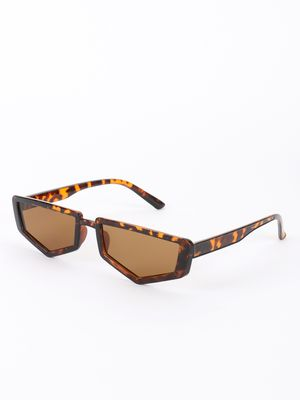 Sneak-a-Peek Leopard Print Pentagon Shape Classic Sunglasses