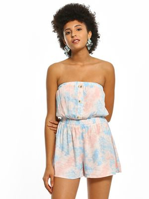 New Look Tie & Dye Print Bandeau Playsuit
