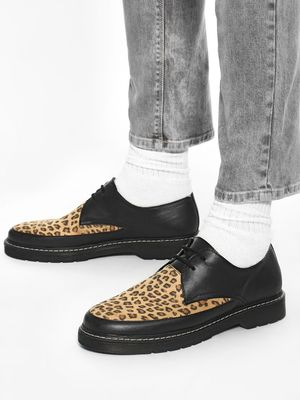 KOOVS Suede Leopard Print Panel Shoes