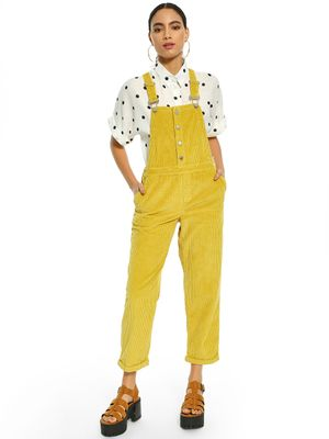 KOOVS Corduroy Button Detail Cropped Dungarees