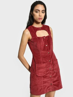 KOOVS Corduroy Cut-Out Utility Shift Dress