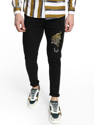 REALM Tiger Embroidered Slim Jeans