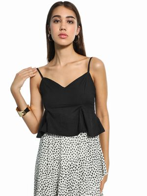 KOOVS Strappy Peplum Crop Top