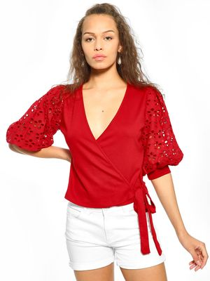 KOOVS Front Wrap Broderie Sleeve Blouse
