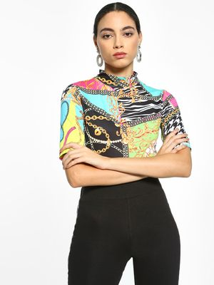 KOOVS Baroque Print High Neck Bodysuit