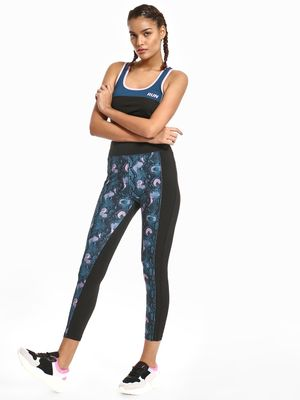 K ACTIVE KOOVS Snake Print Panelled Leggings
