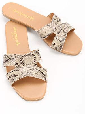 New Look Snake Print Strap Flat Sandals