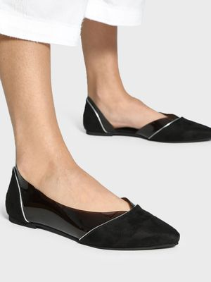 KOOVS Clear Suede Panel Flat Shoes