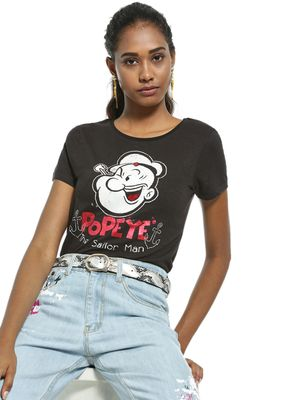 Free Authority Metallic Popeye Placement Print T-Shirt